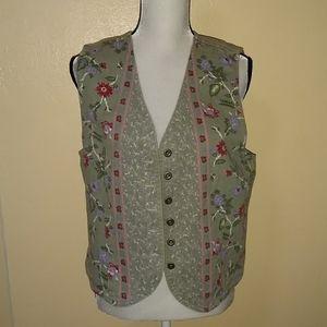Size large flower denim vest by Cherokee